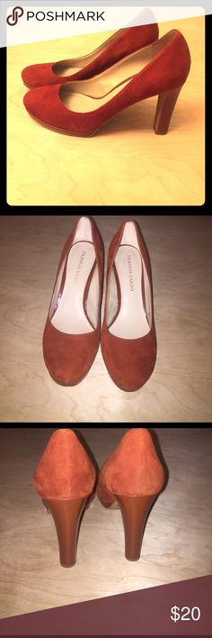 Franco Sarto Platform Pumps Franco Sarto Heels size 9.5. Burnt red suede outer. Worn a few times so there are a few small marks on the bottom and the heel. 1/2inch platform with 4inch heel. Franco Sarto Shoes Heels