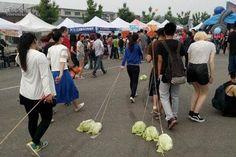 Me pregunto como acabaran los repollos, pero todo sea por conocer gente. Jóvenes chinos sacan a pasear... vegetales - Yahoo Noticias