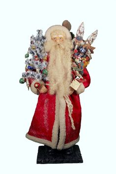 ino schaller santas germany | Ino Schaller Santa In Cloth Christmas Paper Mache Extra Large Candy ...