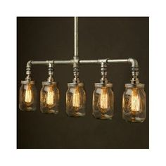 Industrial Pipe Chandelier Lighting Fixture Edison Bulb Mason Jar Pendant Lamp #CustomMade #Industrial