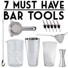 Must Have Bar Tools. Barware Essentials: Barspoon, Yarai Mixing Glass, Cocktail Shaker (Boston Shaker or Cobbler Shaker), Jigger, Hawthorn Strainer, Pourers, etc.