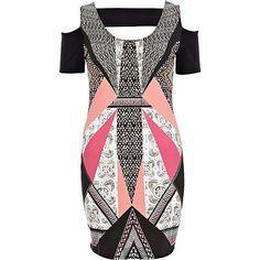 Pink symmetrical print cut out bodycon dress - bodycon dresses - dresses - women