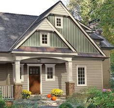 673c698b9df This home shows Trim and Windows in Pearl color  Portsmouth Shake  Hand-Split Shake also in Pearl color  CraneBoard Board and Batten in  Cypress color and in ...