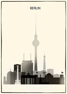 Berlin poster, Berlin print, Berlin skyline art, Germany, Deutschland, wall art, home decor, black & white, travel poster Frame is not…