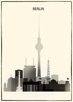 Berlin-Poster Berlin Druck Berlin Skyline Kunst von DimoPrints