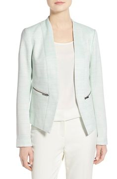 Free shipping and returns on Halogen® Zip Pocket Open Jacket (Regular & Petite) at Nordstrom.com. A hard-working tailored jacket in a choice of spring colors and fabrics is streamlined in a fitted silhouette with a collarless, open front and double-vented back.
