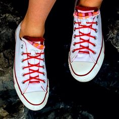 Even as shoelaces! Chuck Taylor Sneakers, Slip On Shoes, Fashion Accessories, Footwear, Lace, Red, Gifts, Gift Ideas, Objects