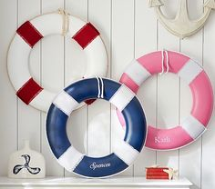 Ahoy! Personalized 'Life Preserver' wall art so cute for a nautical room.