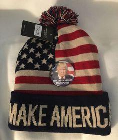 0246a7828b9bb Details about TRUMP 2020 PIN + BEANIE SKI CAP MAGA MAKE AMERICA GREAT AGAIN  STARS STRIPE Keep