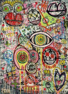 Reste toi (Peinture),  90x70 cm par Olivier PIOCH .  Acrylique sur toile + cadre américain