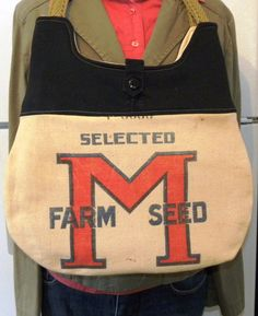 Vintage M Farm Seed sack upcycled handbag by LoriesBags on Etsy