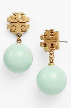 Tory Burch 'Evie' Logo Pearl Drop Earrings