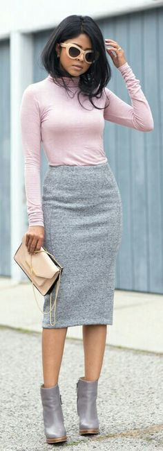 Pink & grey work outfit: fitted top, pencil skirt, booties, bag.
