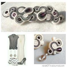 #soutache #yuliaozmen #white #grey #earrings #forhair