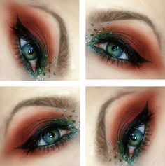 Clear jewels accent Fall / Autumn inspired green and copper eye makeup.