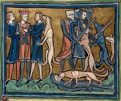 The legend of the king Garamantes who was rescued by his dogs. Folio 30v: The Rochester Bestiary c.1230, copy from c.1230AD, Southeastern Endland. Manuscript Royal 12 F XIII