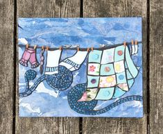 Gettin' the Gossip #mixedmedia #mosaic by @22mosaics #laundry #quilts