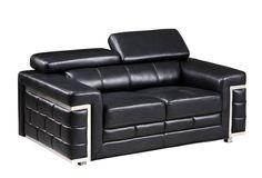U7940 Series Blanche Black Leather Gel Loveseat