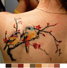 tattoo-colours:  Birds on Cherry tree done by Melina at Don Design II in Delson, QC, Canada.