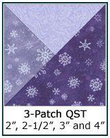 Purple 3-Patch Quarter Square Triangle quilt block