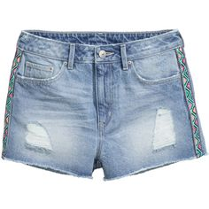 H&M Denim Shorts $14.99 (€13) ❤ liked on Polyvore featuring shorts, patterned shorts, denim short shorts, blue shorts, distressed shorts and blue short shorts