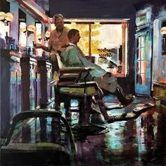 Acrylic painting of a man getting his hair cut in a barber shop. Painted by Spencer Meagher.