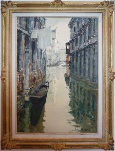 Giuseppe Marino - Venice - 1940 - x - Italian Paintings, Antique Paint, Venetian, Venice, Italy, River, Landscape, Antiques, Collection