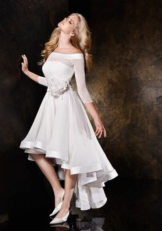 Hot Sale Sexy A Line Off The Shoulder Handmade Flowers Short Front Long Back Wedding Dresses Beach Wedding Dress 2013 Casual Bridal Gowns Casual Summer Dresses, Formal Evening Dresses, Short Dresses, Dress Formal, Formal Prom, Dress Summer, Dresses 2013, Dress Casual, Wedding Dress 2013