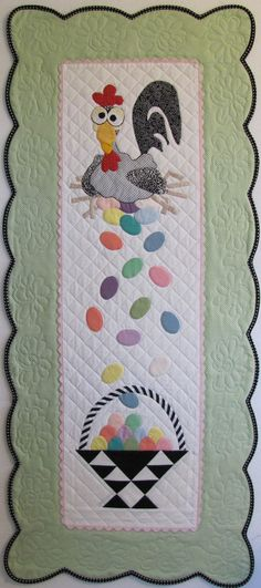 """""""esther the easter chicken"""" table runner... awesome!"""