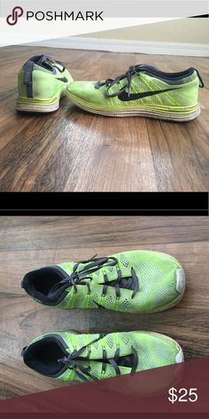 Nike flyknit Lunarlon running shoes Lightly worn. Size 8.5 bright yellow, white, grey and black. Super comfy! Nike Shoes Athletic Shoes