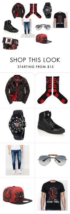 """Men deadpool tho"" by victoriast-1 ❤ liked on Polyvore featuring interior, interiors, interior design, home, home decor, interior decorating, Superdry, Marvel Comics, Crayo and Versace"