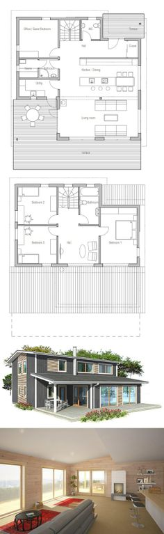 House Plan, Small House, New Home What size are the rooms and can this be better looking with diff exterior finishes?