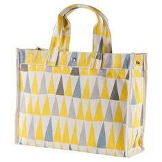 Check out this item at One Kings Lane! Canvas Flag Tote, Yellow/Gray
