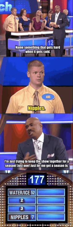 Family Feud is supposed to be PG… gosh how i love steve harveys replies and faces he makes on this show
