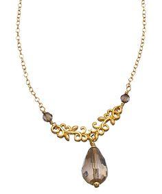 DelVecchio Designs Smoky Quartz and Gold Victorian Filigree Necklace #maxandchloe