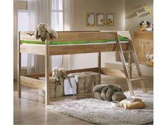 """Spielbett """"Oliver"""" mit Treppe, Buche massiv, natur lackiert von Taube, Liegefläche 90 x 200 cm"""