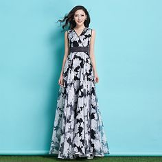 Find More Dresses Information about New Fashion Women's Summer Maxi Dress Slim V Neck Sleeveless Organza Floral Dress Plus Size Flower Holiday Long Dress,High Quality summer maxi dress,China maxi dress Suppliers, Cheap fashion long dress from Fashion Lady Lau on Aliexpress.com