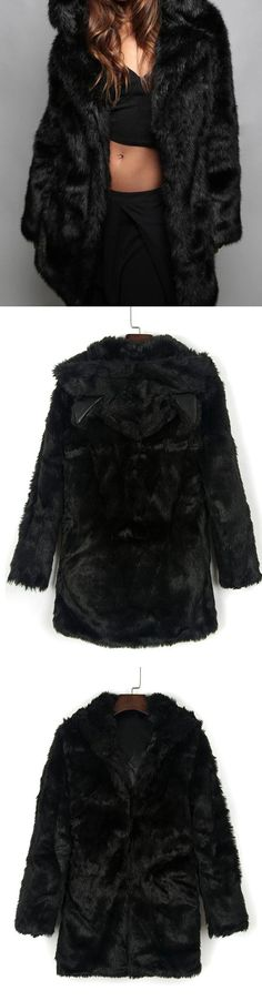 MYNYSTYLE |  Black Cat Ear Detail Hooded Faux Fur Coat. Perfect to winter, cozy, fluffy