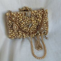 #Bridal Clutch, #Pearl beaded vintage purse, ivory bliss wedding bag, Victorian Couture bridal accessory, OOAK