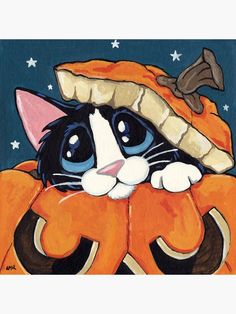 'Peekaboo Pumpkin' Poster by Lisa Marie Robinson Halloween Painting, Halloween Cat, I Love Cats, Crazy Cats, Image Chat, Cats With Big Eyes, Cat Drawing, Animal Paintings, Cats And Kittens
