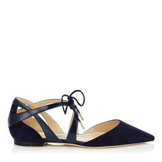 Navy Suede and Patent Pointy Toe Flats | Lyssa | Spring Summer 15 | JIMMY CHOO Shoes
