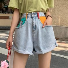 itGirl Shop | HIGH WAIST COLORFUL POCKETS BLUE DENIM SHORTS