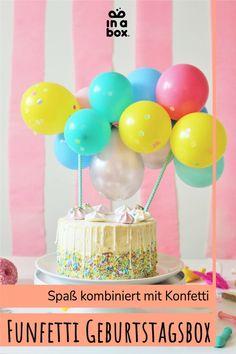 Für den buntesten Geburtstag aller Zeiten haben wir die passende Dekoration für Deine kleinen Geburtstagsfans! Mit jeder Menge Konfetti, Ballons und Spaß, für einen stressfreien Kindergeburtstag! Das Beste daran: die tollen Dekorationselemente eignen sich für Jungs & Mädels! Party Box, Diy Party, Party Decoration, Drip Cakes, Desserts, Food, Decor Ideas, Mini, Colorful Birthday