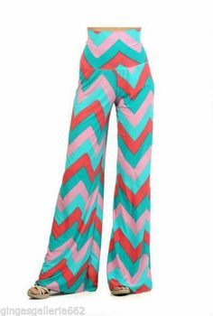 Turquoise  Orange Chevron Striped Palazzo Pants High Waist Wide Leg #Unbranded #Palazzo