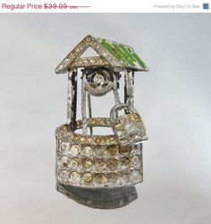 SPRING SALE Vintage Wishing Well Dress Clip  Art Deco  by waalaa, $33.99