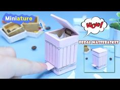Miniature - How To Make Pedal wastebasket (DIY Dollhouse - Pedal wastebasket) 미니어처 페달휴지통 만들기!! - YouTube