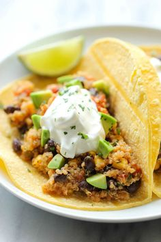 These Quinoa Black Bean Tacos are packed with protein.