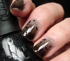 Gradient jelly manicure + Nubar Black Polka Dots