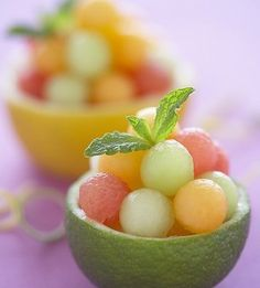 Melon ball citrus cups #wedding #appetizers