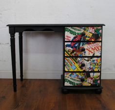 Retro Desk Marvel Comic Super Hero Spider Man *One of a Kind*.might try this out on the boys bookshelf firstUpcycled Retro Desk Marvel Comic Super Hero Spider Man *One of a Kind*.might try this out on the boys bookshelf first Boys Room Design, Boys Room Decor, Kids Room, Marvel Room, Marvel Comics, Retro Desk, Boys Desk, Bookshelf Desk, Superhero Room